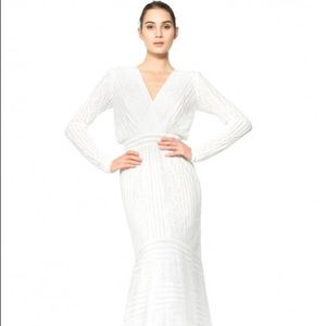 ISO ISO- STRIPE KNIT FLORAL LACE LONG SLEEVE GOWN